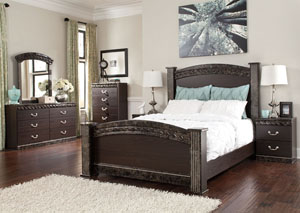Vachel Queen Poster Bed, Dresser & Mirror