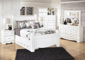 Weeki Queen Poster Storage Bed, Dresser & Mirror