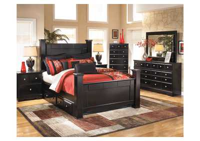 Shay Queen Poster Bed w/ Storage, Dresser, Mirror, Chest & Night Stand