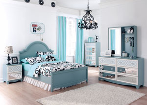Mivara Full Panel Bed, Dresser & Mirror