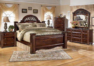 Gabriela Queen Poster Bed, Dresser, Mirror & Chest