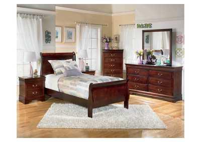 Alisdair Twin Sleigh Bed, Dresser, Mirror, Chest & Night Stand