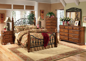 Wyatt King Poster Bed, Dresser & Mirror
