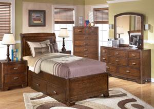 Alea Twin Storage Bed, Dresser & Mirror