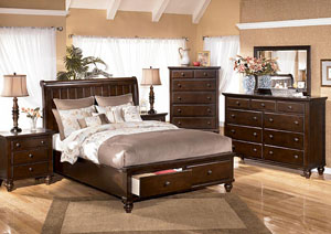 Camdyn Queen Sleigh Bed w/ Storage, Dresser & Mirror