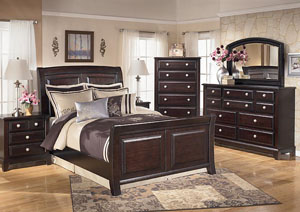 Ridgley Queen Sleigh Bed, Dresser, Mirror & Chest