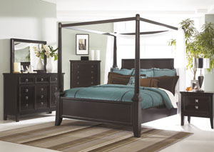 Martini Suite Queen Poster Bed, Dresser, Mirror, Chest & Night Stand
