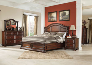 Brennville King Panel Bed, Dresser & Mirror