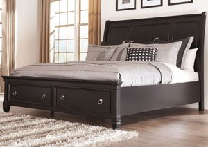 Greensburg Queen Storage Sleigh Bed, Dresser & Mirror