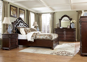 Caprivi Queen Storage Bed, Dresser, Mirror & Chest