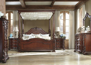 Martanny Queen Canopy Bed, Dresser, Mirror & Nightstand