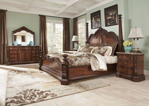 Ledelle Queen Poster Bed, Dresser, Mirror & Chest