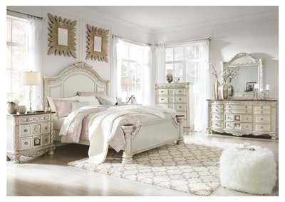 Cassimore Pearl Silver King Panel Bed w/Dresser, Mirror, Drawer Chest and Nightstand
