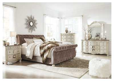 Cassimore Pearl Silver King Upholstered Bed w/Dresser, Mirror, Drawer Chest and Nightstand