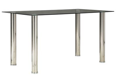 Sariden Chrome Finish Rectangular Dining Room Table