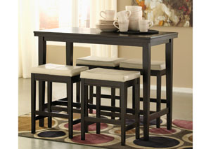 Kimonte Rectangular Counter Height Table w/ 4 Ivory Barstools