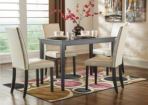 Kimonte Rectangular Dining Table w/4 Ivory Chairs