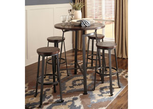 Challiman Rustic Brown Round Dining Room Bar Table w/4 Tall Stools