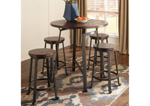 Challiman Rustic Brown Round Counter Table w/ 4 Stools