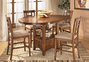 Cross Island 5-Piece Counter Height Ext Table Dining Set