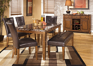 Lacey Rectangular Dining Table w/4 Side Chairs & Bench