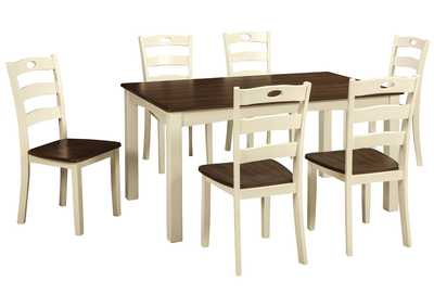 Woodanville White/Brown Dining Room Table Set
