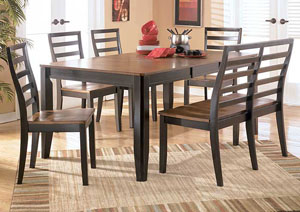 Alonzo Rectangular Table w/ 4 Chairs & Bench