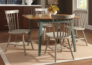 Bantilly Rectangular Drop Leaf Table w/ 4 Gray Side Chairs