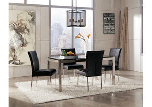 Baraga Rectangular Table & 4 Black Side Chairs