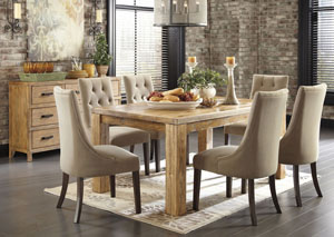 Mestler Medium Brown Rectangular Dining Table w/ 6 Light Brown Upholstered Side Chairs & Server