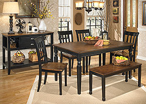 Owingsville Rectangular Dining Table w/4 Side Chairs & Bench