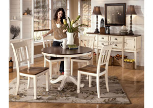 Whitesburg Round Table & 4 Side Chairs