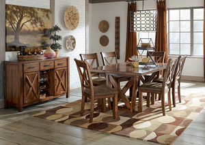 Waurika Rectangular Extension Table w/ 6 Upholstered Side Chairs