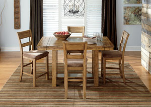 Krinden Counter Height Extension Table w/ 4 Upholstered Barstools