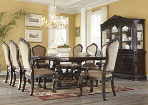 Wendlowe Rectangular Pedestal Dining Table w/ 6 Side Chairs & 2 Arm Chairs