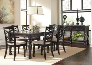 Harlstern Rectangular Extension Table w/ 6 Side Chairs