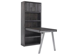 Raventown Grayish Brown Large Bookcase w/Desk Return