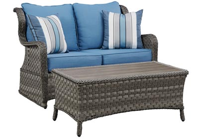 Abbots Court Blue/Gray Loveseat Glider w/Table
