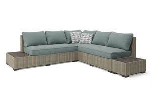 Silent Brook Beige Sectional w/End Tables