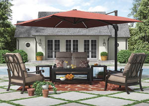 Chestnut Ridge Rectangular Cocktail Table w/2 End Table, Loveseat, 2 Lounge Chair Cushion & Cantilever Umbrella