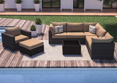 Spring Ridge Beige/Brown L-Shaped Sectional