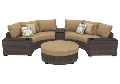 Spring Ridge Beige/Brown Sectional w/Consoles & Ottoman