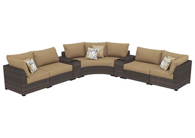 Spring Ridge Beige/Brown Curved Sectional