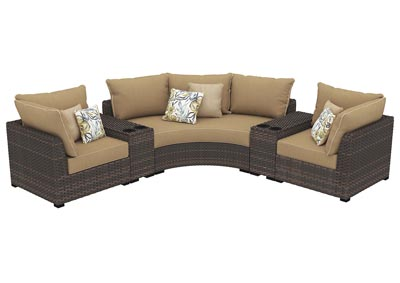 Spring Ridge Beige/Brown Sectional w/Consoles