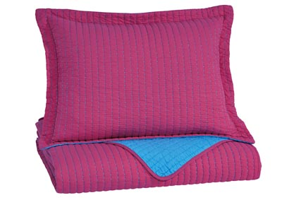 Dansby Magenta/Aqua Twin Coverlet Set