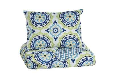Danesha Blue/Green Full Coverlet Set
