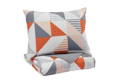 Layne Gray/Orange Twin Coverlet Set