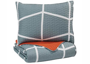 Gage Gray/Orange Twin Coverlet Set
