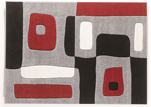 Red/Black/Gray Geo Medium Rug