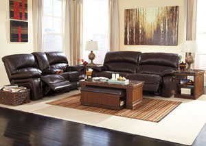 Damacio Dark Brown Reclining Sofa & Loveseat